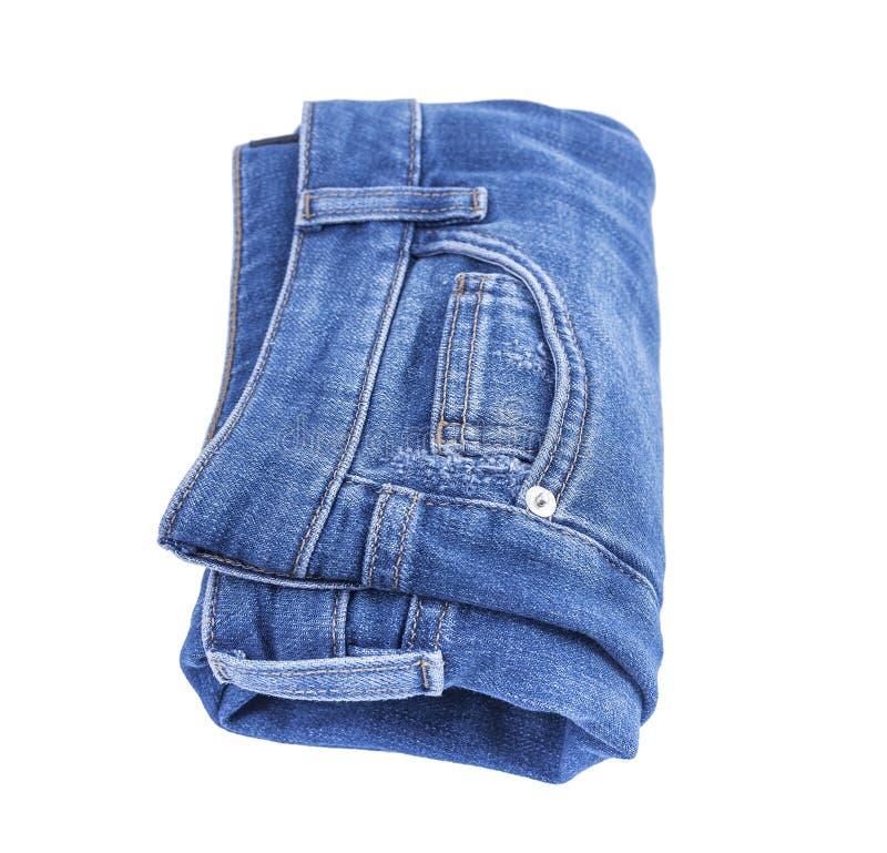 Beautiful denim pants. Isolated on white background royalty free stock image