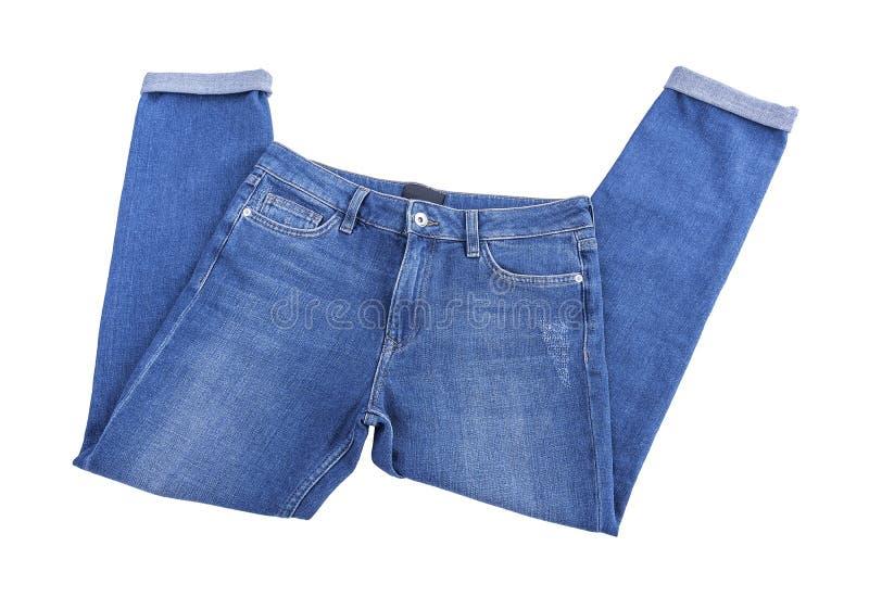 Beautiful denim pants. Isolated on white background stock photo