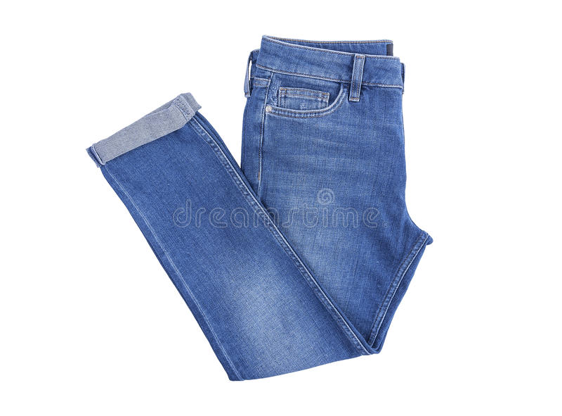 Beautiful denim pants. Isolated on white background royalty free stock images