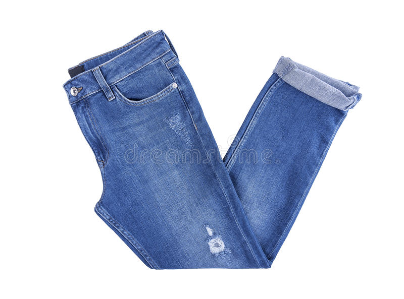 Beautiful denim pants. Isolated on white background royalty free stock photos