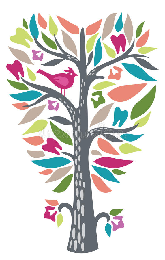Beautiful Dental Tooth Tree. Beautiful vibrant and whismical tree designed in the shape of an abtract dental tooth royalty free illustration