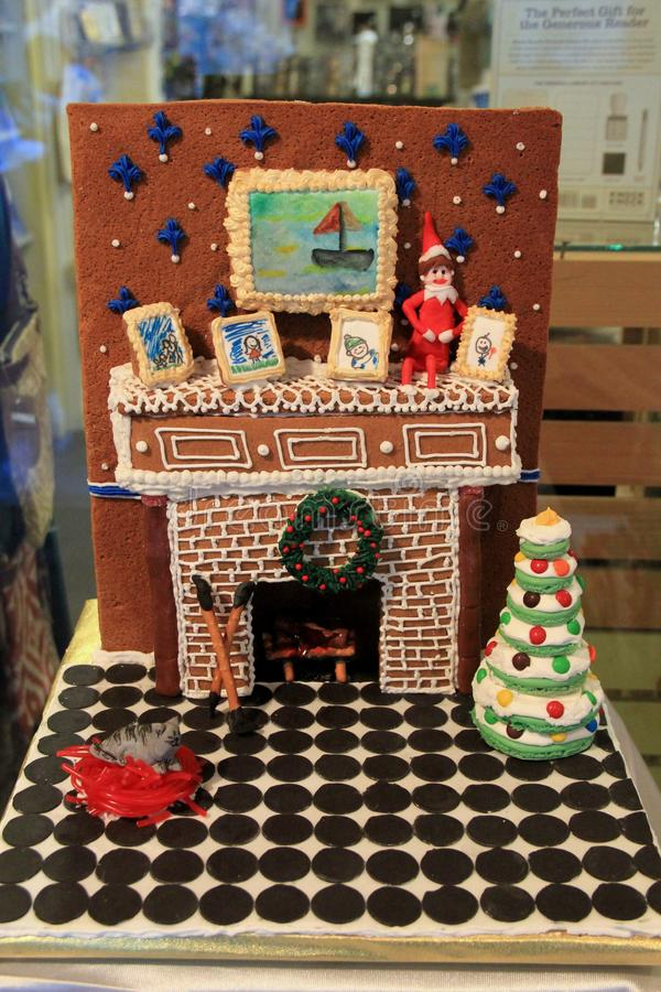 Beautiful depiction of Fireplace and chimmney, made for Gingerbread House contest, George Eastman House, Rochester, New York, 2017 royalty free stock photo