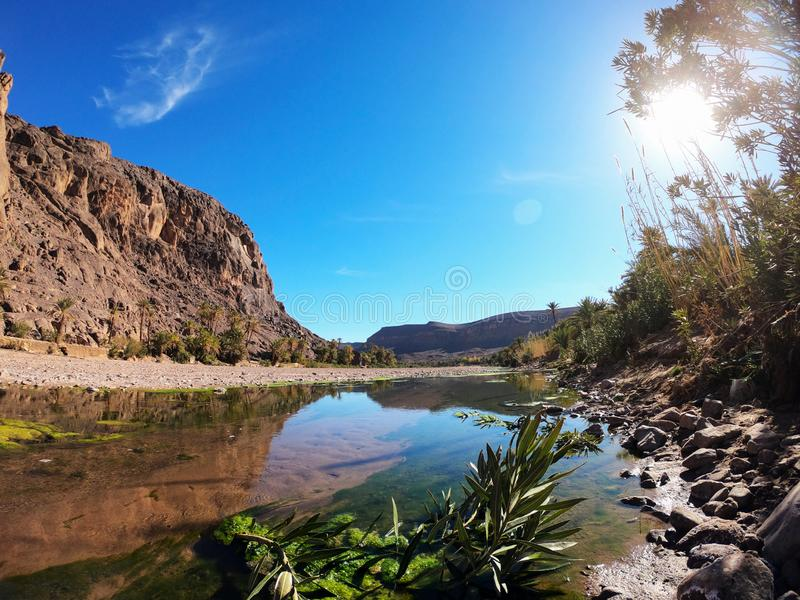 Beautiful Desert oasis landscape in Oasis De Fint near Ourzazate in Morocco, North Africa royalty free stock photography