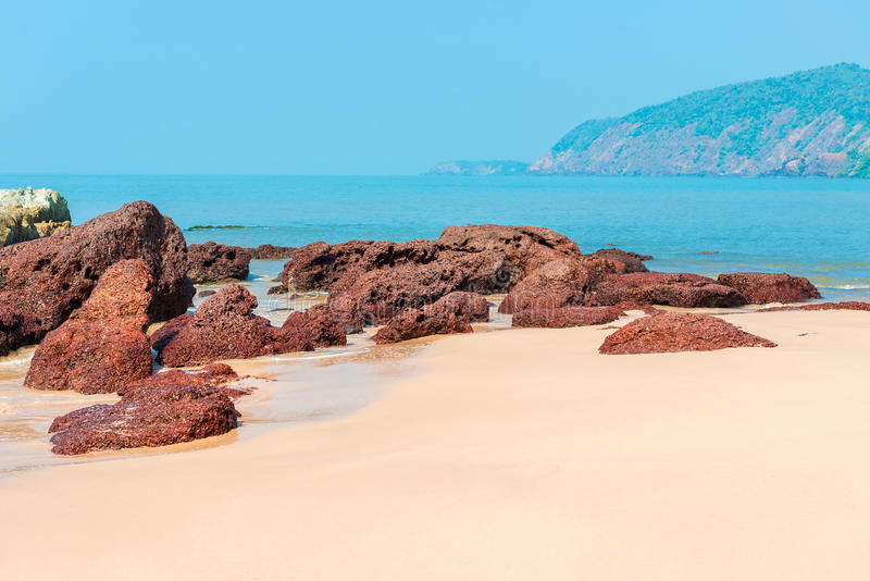 Beautiful deserted beach Cola in Goa stock image