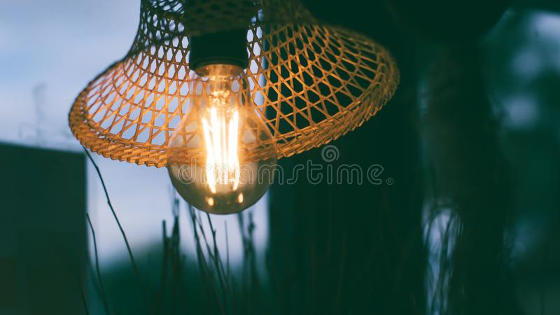 Beautiful Design of natural eco idea Woven Bamboo Lighting Pendant Lamp or Hanging royalty free stock photography
