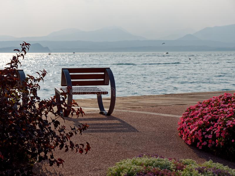 Beautiful designer benches on the promenade of Bordolino Italy. 2019 stock photos