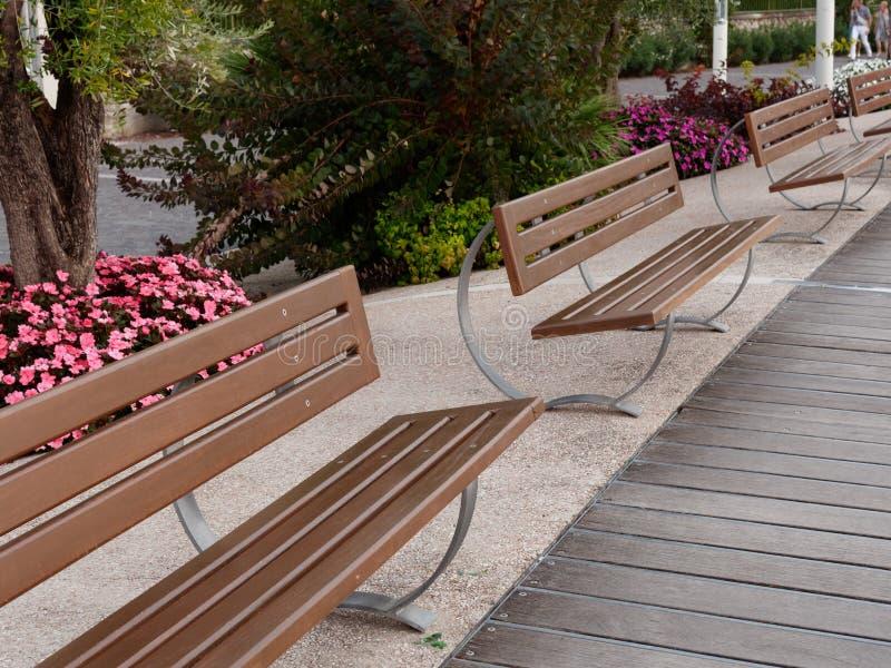 Beautiful designer benches on the promenade of Bordolino Italy. 2019 stock images