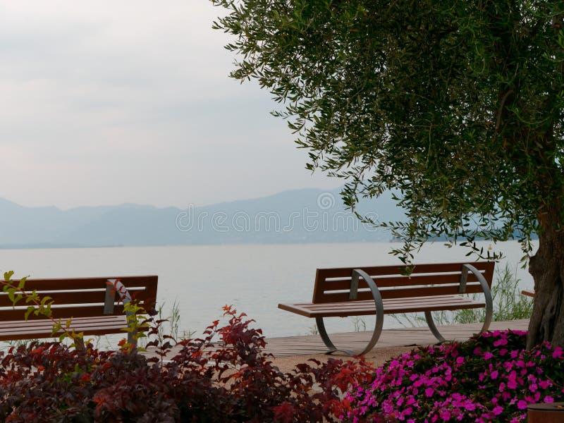 Beautiful designer benches on the promenade of Bordolino Italy. 2019 royalty free stock image
