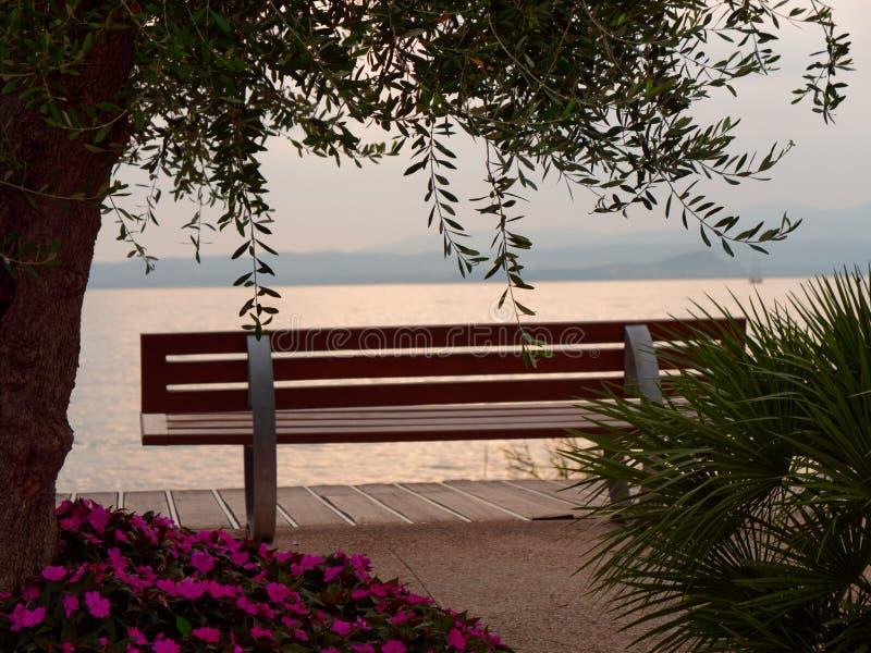 Beautiful designer benches on the promenade of Bordolino Italy. 2019 stock image