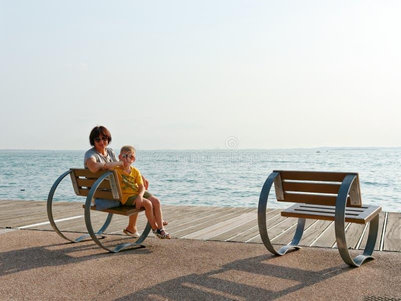 Beautiful designer benches on the promenade of Bordolino Italy. 2019 royalty free stock photo