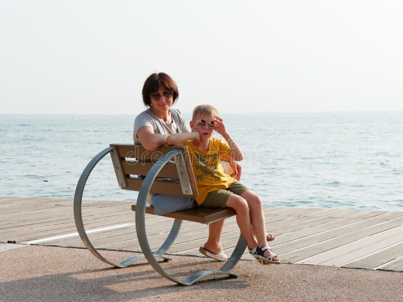 Beautiful designer benches on the promenade of Bordolino Italy. 2019 stock photography
