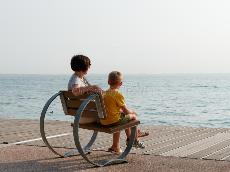 Beautiful designer benches on the promenade of Bordolino Italy. 2019 royalty free stock photos