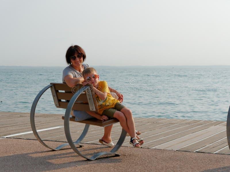 Beautiful designer benches on the promenade of Bordolino Italy. 2019 royalty free stock photography