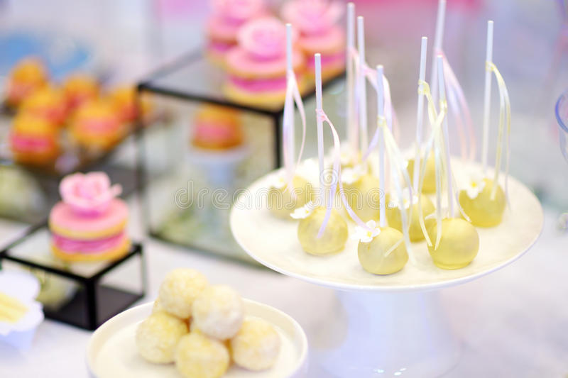 Beautiful Desserts, Sweets And Candy Table At Wedding Reception ...