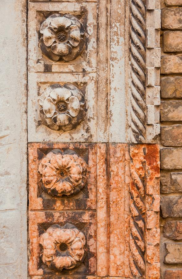 Marble flower on gothic portal in Venice stock photo