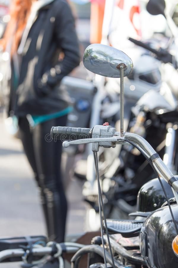 Beautiful detail of the motorcycle. mirror royalty free stock photography