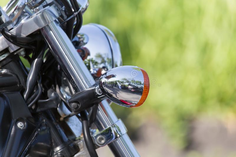 Beautiful detail of the motorcycle. mirror stock image
