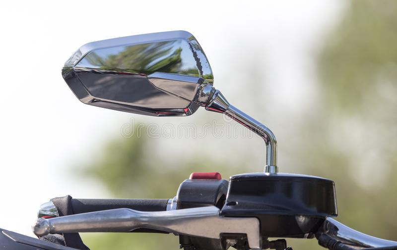 Beautiful detail of the motorcycle. mirror stock photos