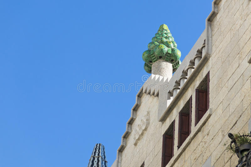 Beautiful detail of the Palace Guell by Gaudi­ in Barcelona, Sp royalty free stock photography