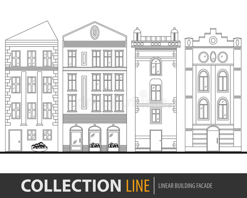 Beautiful detailed linear cityscape collection with townhouses. Small town street with victorian building facades royalty free illustration