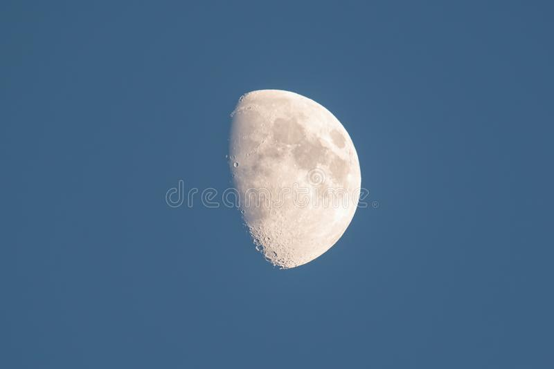 Beautiful detailed moon shot at dusk - November 1, 2014 as seen from Wisconsin, USA.  stock images