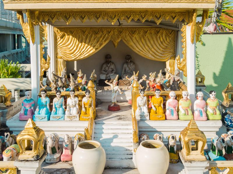 Small Shrine in Thailand. Beautiful detailed view of a small shrine in Thailand royalty free stock images