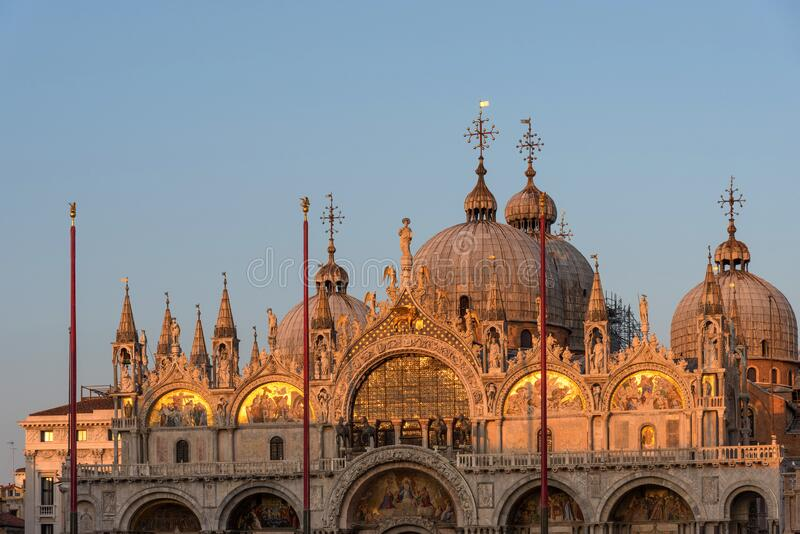 Beautiful details of Basilica Di San Marco in Venice, Italy stock images