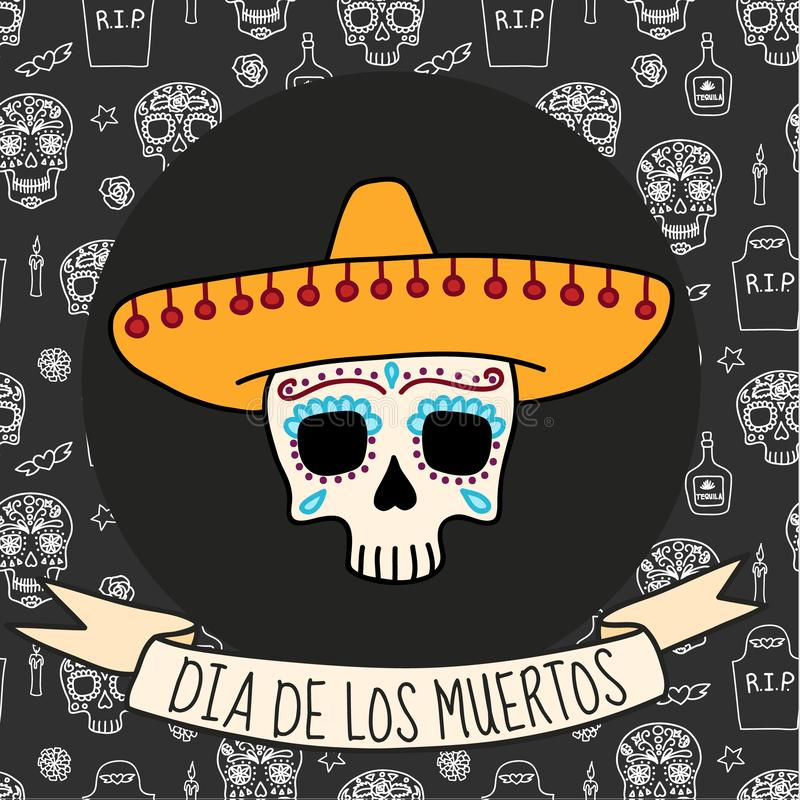 Dia de muertos background, great design for any purposes. Vector eps10. Beautiful dia de los muertos mexican traditional background, great design for any stock illustration