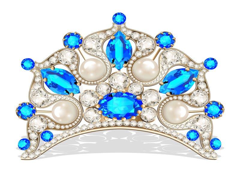 Beautiful diadem feminine with pearl. Beautiful diadem feminine wedding with pearl royalty free illustration