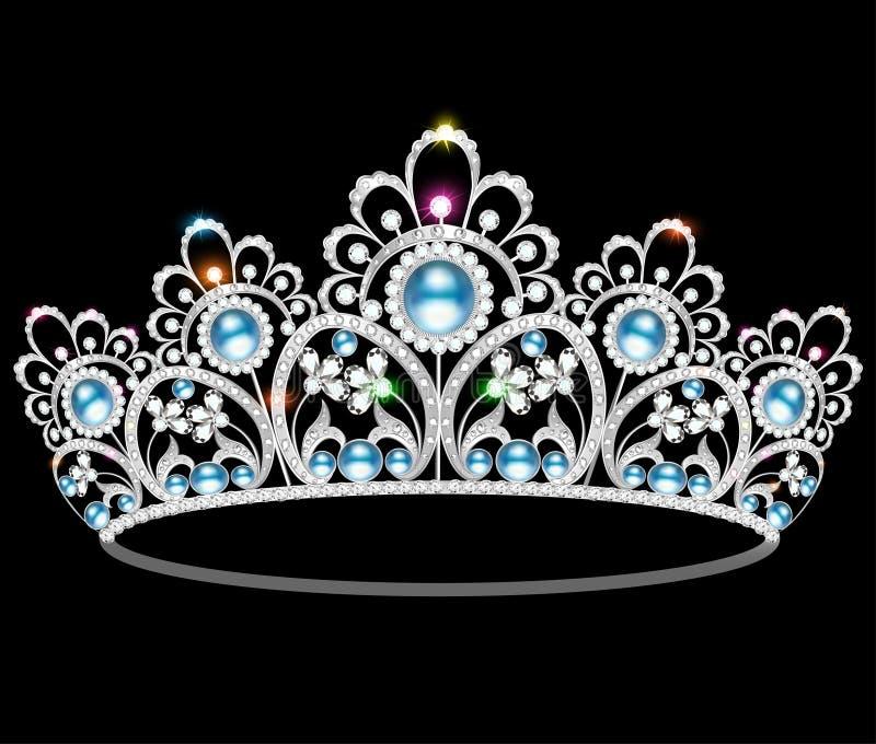Beautiful diadem feminine wedding pearl. Beautiful diadem feminine wedding with pearl royalty free illustration