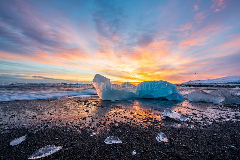 Beautiful Diamond beach in Iceland stock image