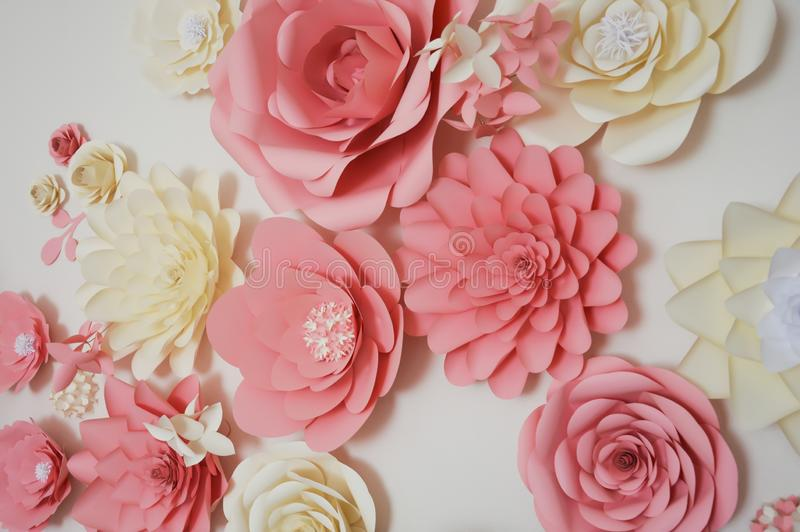 Paper flowers on the wall. Beautiful different color paper flowers on the wall, interior decor stock photos