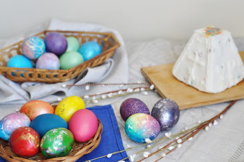 Colorful easter eggs in basket stock image