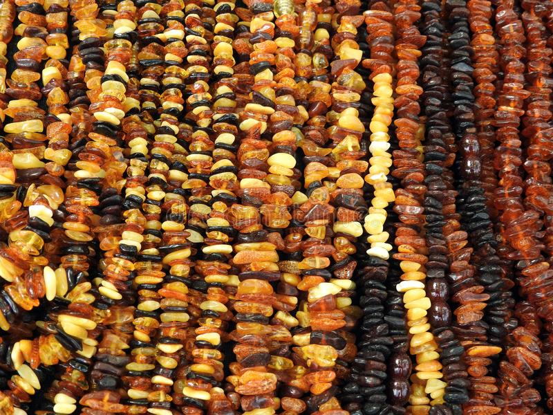 Colorful amber necklace for sale, Lithuania stock image