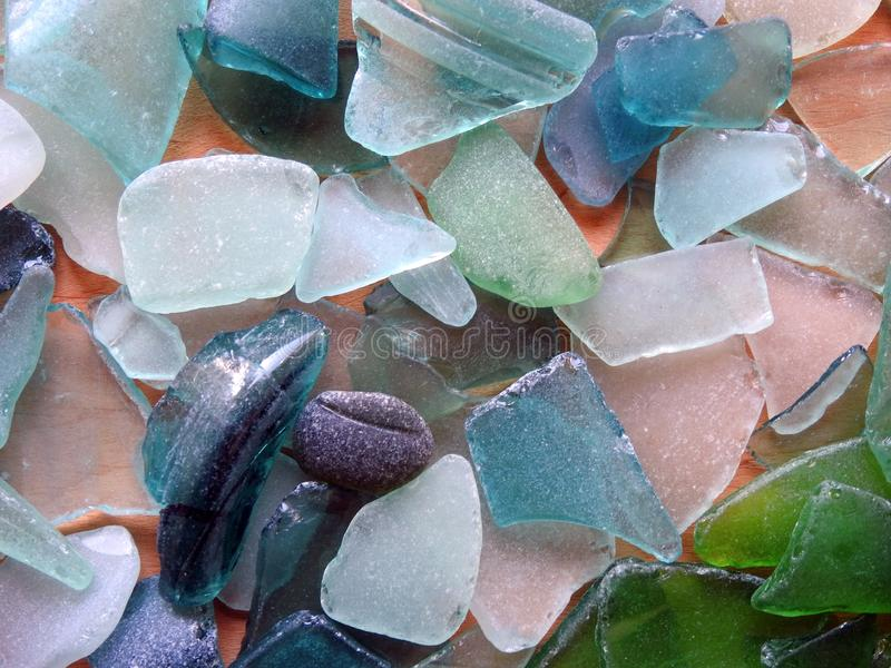 Beautiful different colors Baltic sea  glass , Lithuania royalty free stock photography
