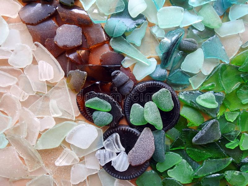 Beautiful different colors Baltic sea  glass , Lithuania stock image