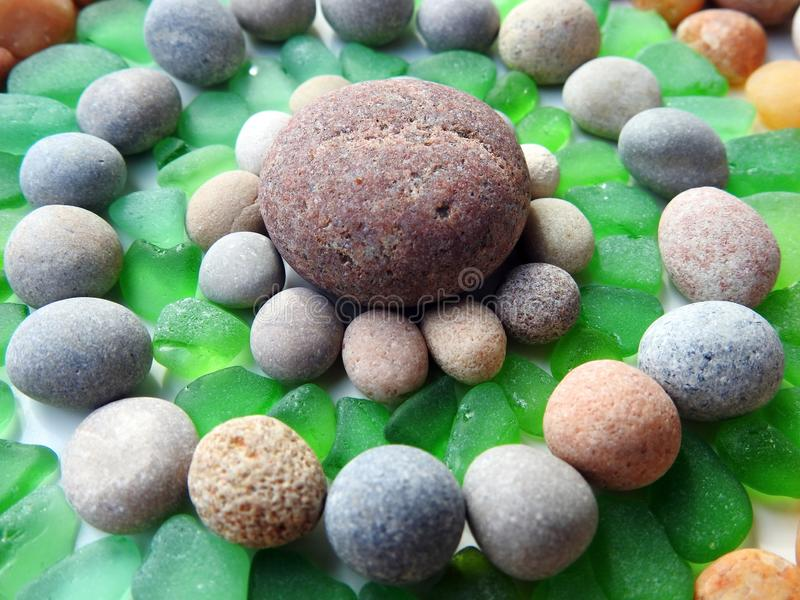 Beautiful different colors Baltic sea stones and glass , Lithuania stock photos