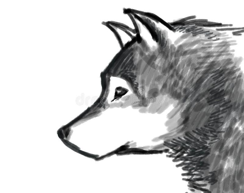 Wolf Brush Paint Illustration Black And White Stock Photos