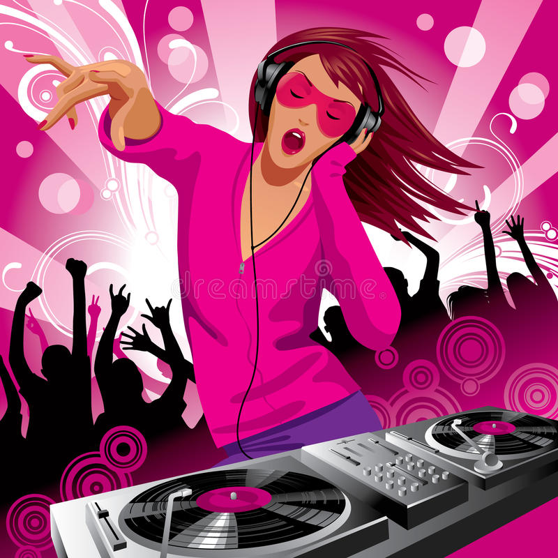 Beautiful DJ girl stock illustration