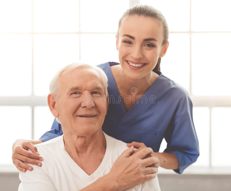 Beautiful doctor and patient royalty free stock photo