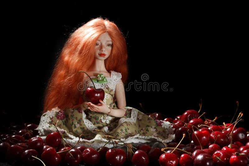 Doll and cherry royalty free stock images