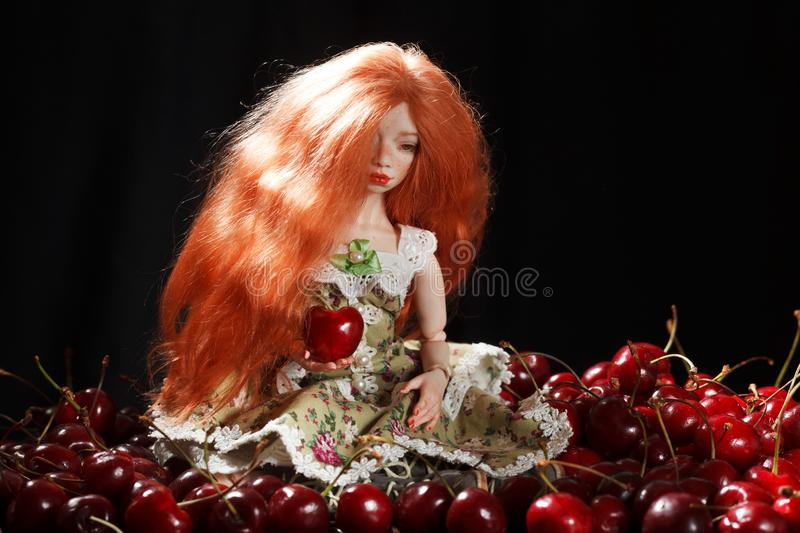 Doll and cherry royalty free stock image