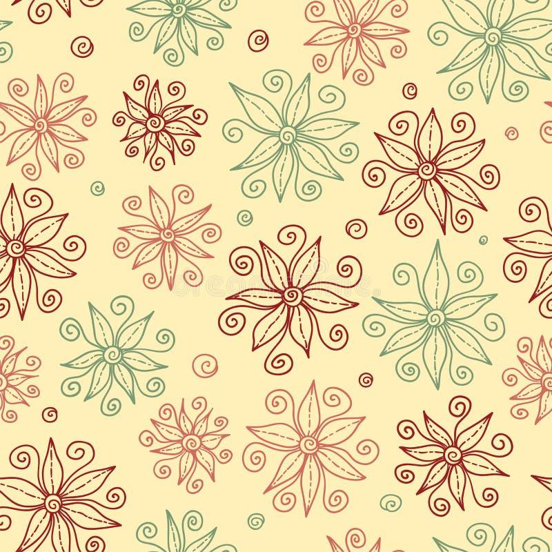 Beautiful Doodle Flowers Seamless Pattern. Stock Photo
