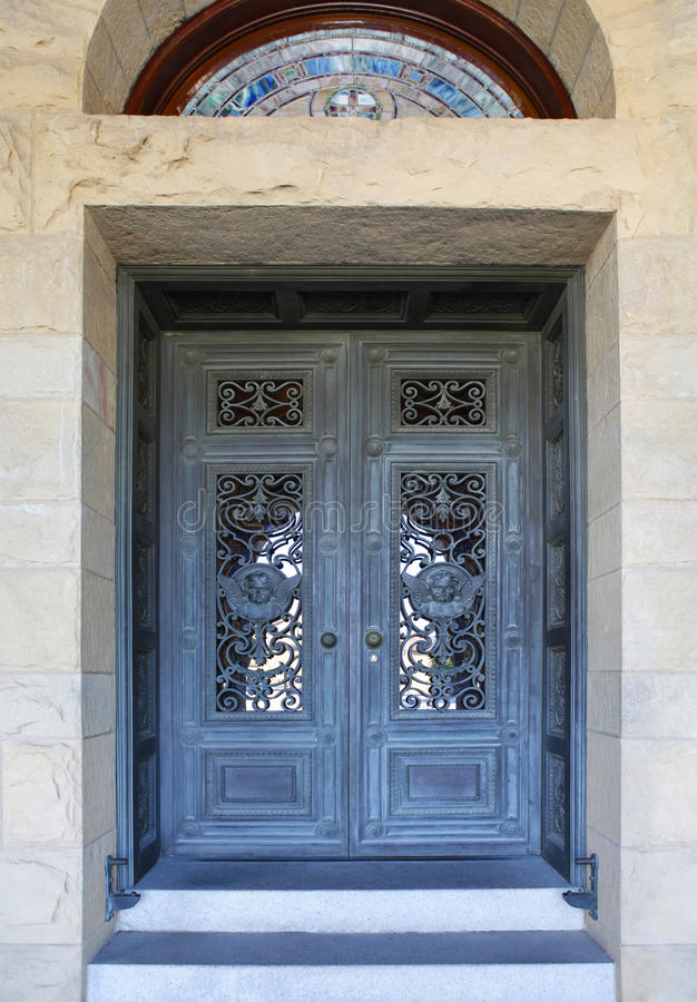 Beautiful door in Mission church at Stanford University in Calif stock images