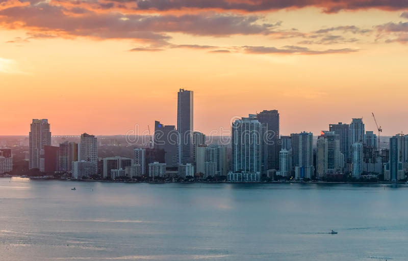 Download Beautiful Downtown Miami Skyline At Sunset Stock Photo