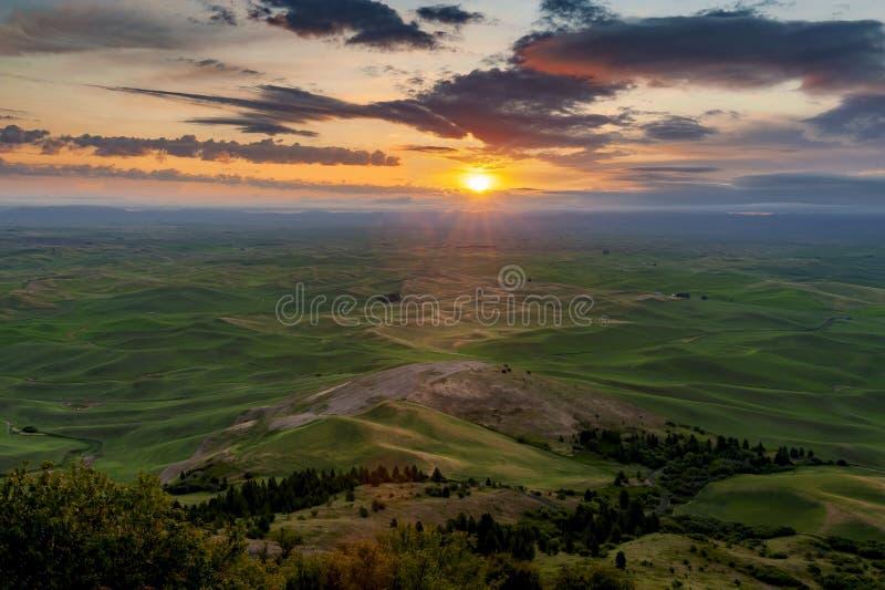 Beautiful and Dramatic Palouse, Washington, Summer Sunrise. stock images