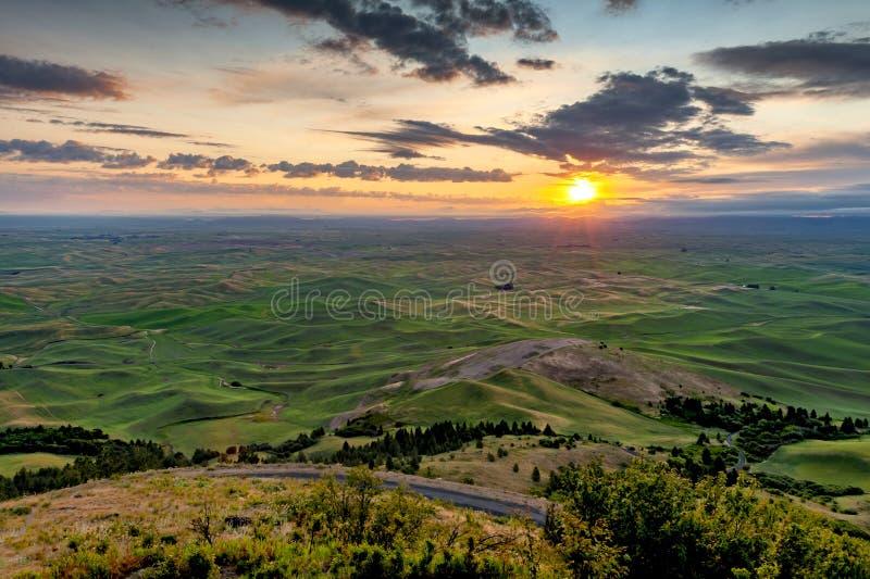Beautiful and Dramatic Palouse, Washington, Summer Sunrise. royalty free stock images