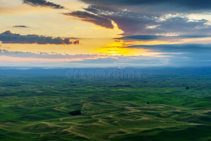 Beautiful and Dramatic Palouse, Washington, Summer Sunrise. stock photos