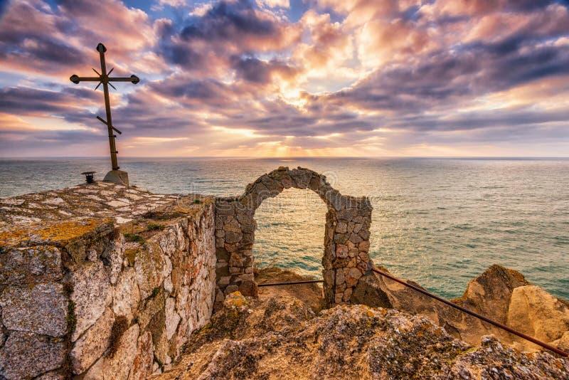 Beautiful dramatic sunrise at cape Kaliakra. Black Sea, Bulgaria royalty free stock image