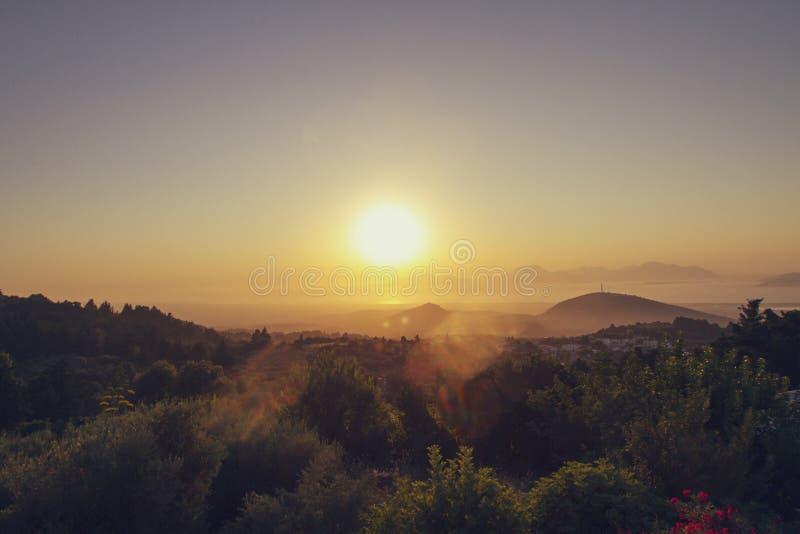 Beautiful dramatic sunset in Kos, Greece. A beautiful dramatic sunset in Zia, Kos, Greece royalty free stock image